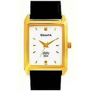 Sonata Rectangle Dial Multicolor Leather Strap Quartz Watch For Men