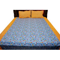 SleepSmart Orange & Blue Printed Designer Bedsheet With Pillow Covers