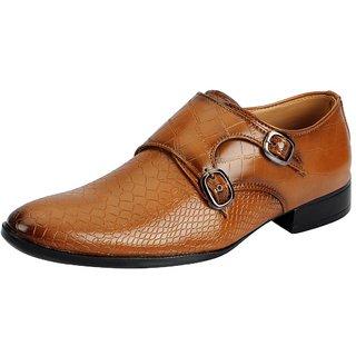 Fausto Men Tan Buckle Formal Shoes