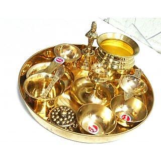 Antique / Traditional Brass Pooja Thali Set Of 11 Pcs Festival Spiritual Gift