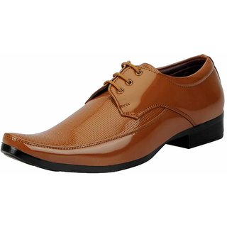 Fausto Men Tan Lace-Up Formal Shoes