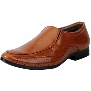 Fausto Men Tan Slip On Formal Shoes