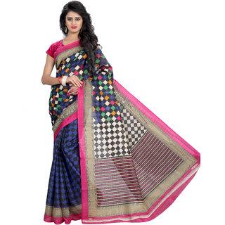 Svb Sarees BeigeBlue Checks Bhagalpuri Silk Saree With Blouse
