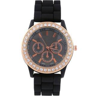 KMS Black Round Dial Stylish Women Analog Watch