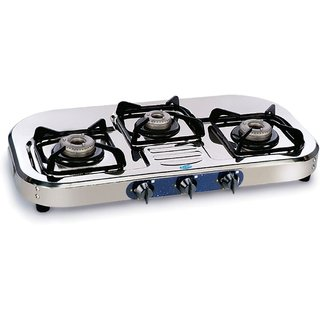 Glen GL 1037 SS AL 3 Burner Glass Manual Gas Stove