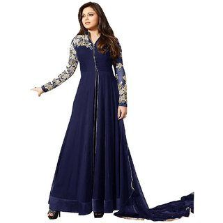 Glorious Blue Faux Georgette Embroidered Work Anarkali Suit