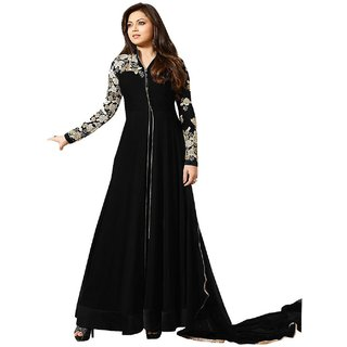 Glorious Black Faux Georgette Embroidered Work Anarkali Suit