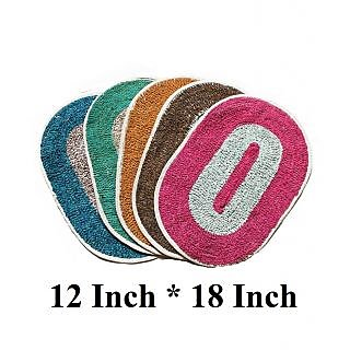 K Decor Set Of 5 Washable Oval Door Mat - 12x18- Multicolor