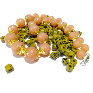Beadworks Crystal Beaded Necklace For All Occasion In Beige Colour