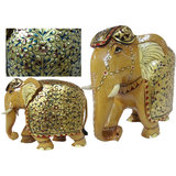 White Wood With Fine Gold Painting Elephant-5 Inches