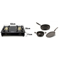 Fabiano Kitchen essential Set (1 pcFabSURYA 2Burner glasstop cooktop with 3pc Fabiano non stick set (1kadhai+1Tawa+1Fryp