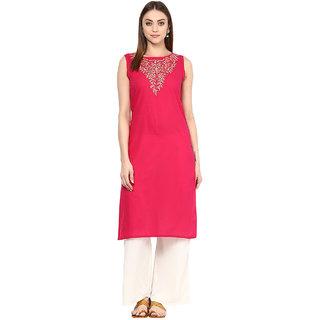 Japur Kurti Pink Cotton Stitched Kurta Palazzo Suit