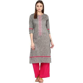 Japur Kurti Gray Cotton Stitched Kurta Palazzo Suit