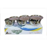 Airan 6 Pcs Stainless Steel Bowl Set With Lid