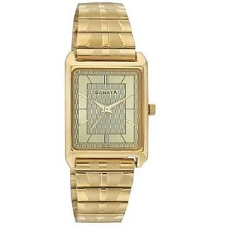 Sonata Rectangle Dial Multicolor Metal Strap Quartz Watch For Men