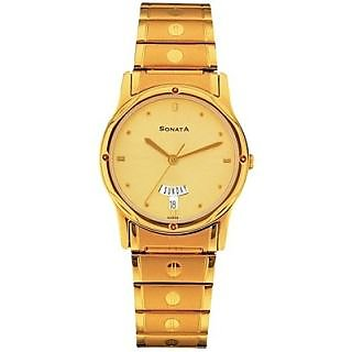 Sonata Round Dial Multicolor Metal Strap Quartz Watch For Men