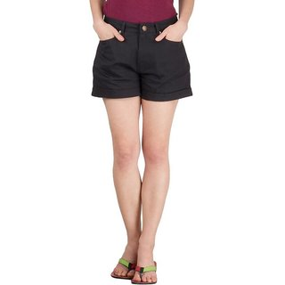 Hypernation Black Twill Color Casual Shorts for Women