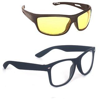 Fashno Combo Of Yellow Night Drive And Transparent Wayerer Sunglasses(uv Protected)(medium Size)