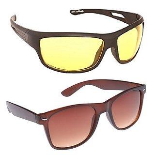 Fashno Combo Of Yellow Night Drive And Brown Wayferer Sunglasses(uv Protected)(medium Size)