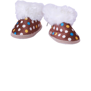 Guchu Infant/New Born Baby Bootie/Shoes Dotted Print-Brown