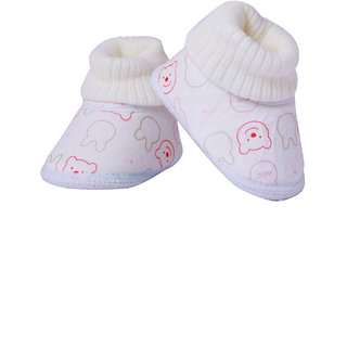 Guchu Infant/New Born Baby Bootie/Shoes Towel Top-Cream