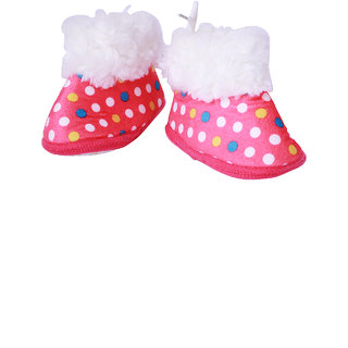 Guchu Infant/New Born Baby Bootie/Shoes Dotted Print-Pink