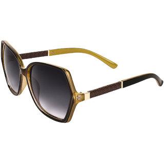 Zyaden Brown & Green Oversized Sunglasses For Women 359