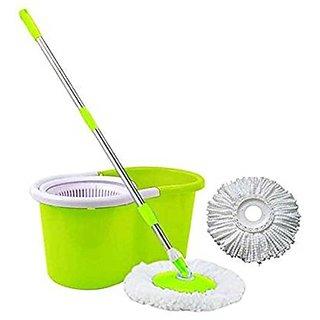 Repido Limpiar 360 Spin Mop Rotating Steel Pole Plastic Bucket with 2 Microfiber Heads (Random Color)
