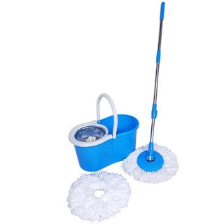 Easy Clean 360 Spin Floor Cleaning Easy Plastic Bucket Stainless Steel Spinner Mop with 2 Microfiber Heads(Random Color)