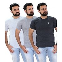 Portobello Men's Half Sleeves Round Neck T-Shirts( Pack Of 3 )