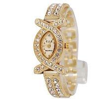 Elle Oval Dial Golden Metal Strap Womens Watch  by  miss