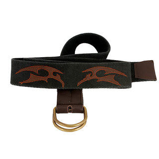HONEYBADGER CHARCOAL 45MM WIDE CANVAS BELT WITH REAL LEATHER TRIMMINGS