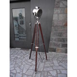 NAUTICAL-ELECTRIC-FLOOR-SEARCHLIGHT-WITH-BROWN-WOOD-TRIPOD