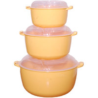 COOK AND SERVE MICROWAVE 3 PCS CONTAINER SET WITH LIDS