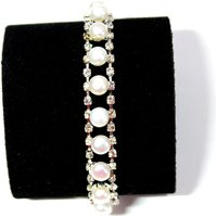 Fresh Water Pearl Bracelet - Pure White Fancy Designer Bracelet With Shiny Stone
