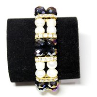 Fresh Water Fancy Pearl Bracelet - Dual Toned Black Beads With White Pearl
