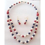 Designer  Gemstones Necklace Set In German Silver Beads