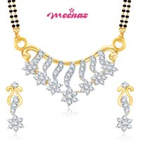 MEENAZ GRACEFUL CZ GOLD AND RHODIUM PLATED MANGALSUTRA SET MSPT110