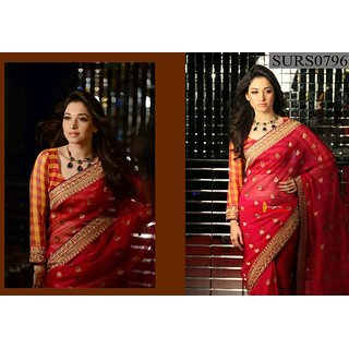 Suvastram Magnetic Red Faux Georgette Saree Embelished With Lace Work