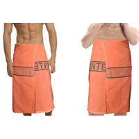 Deal Wala 2  Piece Set Of Russian Cotton Bath Towel - Orange