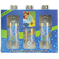 G-PET Fancy Fridge Water Bottle 1 Ltr Blue With Steel Cap - Gift Set Of 3