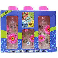 G-PET Fancy Fridge Water Bottle 1 Ltr Pink - Gift Set Of 3