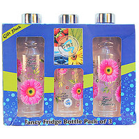 G-PET Fancy Fridge Water Bottle 1 Ltr Pink With Steel Cap - Gift Set Of 3