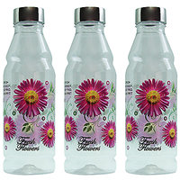 G-PET Fridge Water Bottles Rose 1 Ltr Purple With Steel Cap - Set Of 3