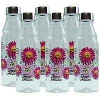 G-PET Fridge Water Bottles Rose 1 Ltr Purple  With Steel Cap - Set Of 6