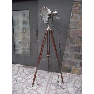 Vintage searchlight designers chrome nautical spotlight for Tripod spotlight floor lamp india
