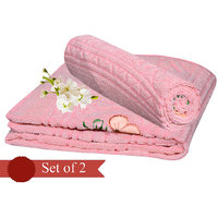 Deal Wala Pack Of 2 Light Pink Cotton Bath Towel - Hh02