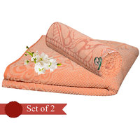 Deal Wala Pack Of 2 Orange Cotton Bath Towel - Hh05
