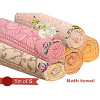 Deal Wala Pack Of 5 Multi Cotton Bath Towel - Hh09