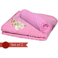 Deal Wala Pack Of 2 Pink Cotton Bath Towel - Hh10